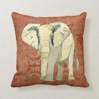 White Elephant Amber Damask Pillow