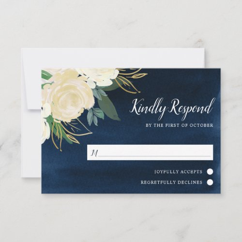 White Floral Navy Blue Watercolor Wedding RSVP Card