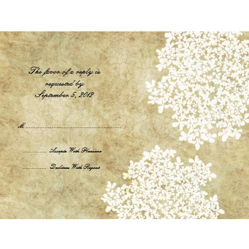 White Floral Vintage Wedding RSVP invitation