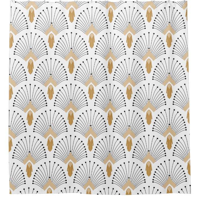 white gold and black art deco fan flowers motif shower curtain zazzle com