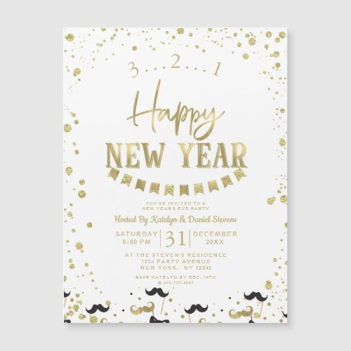 White & Gold Foil Confetti New Year's Eve Party
