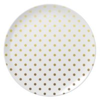 White Gold Polka Dot Party Plates