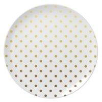 White Gold Polka Dot Party Plates