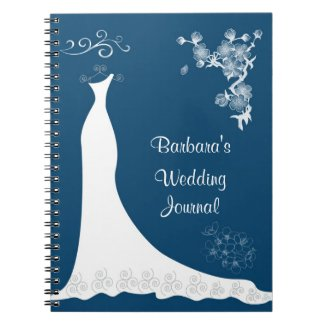White gown on blue Wedding Planner Notebook