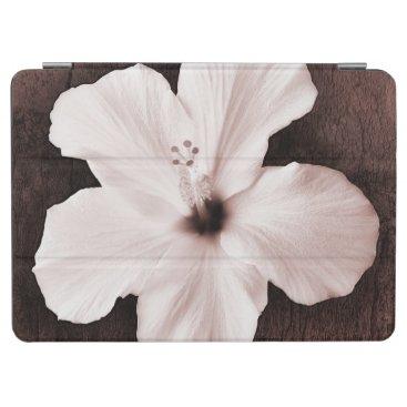 White Hawaiian Hibiscus Sepia Tropical Flower iPad Air Cover
