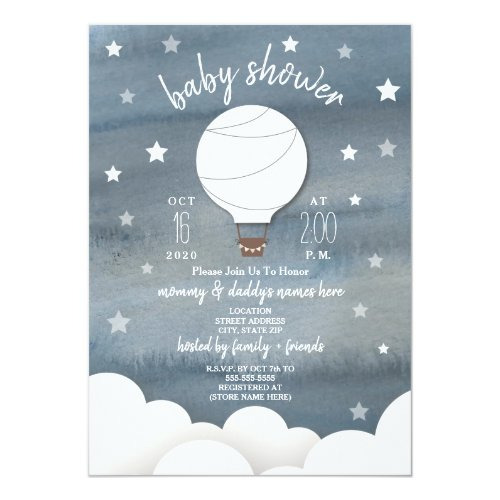 White Hot Air Balloon + Stars Gender Neutral Baby Shower Invitation