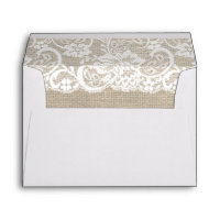 White Lace & Burlap Rustic Wedding Invite Envelope