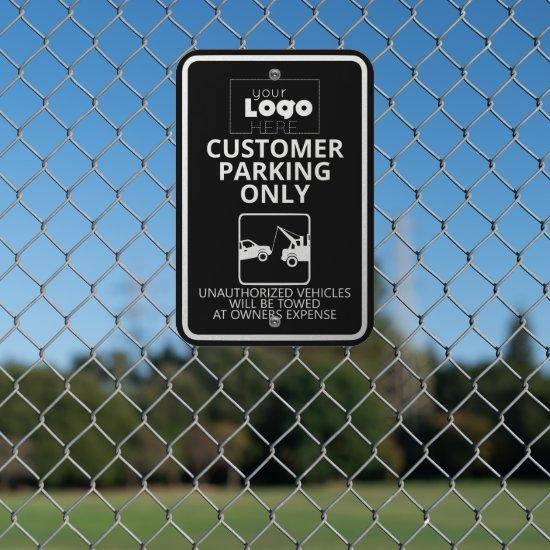 White Logo On Black Customer Parking Only Tow Away Metal Sign