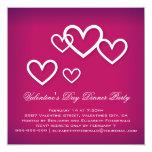 White Love Hearts on Dark Pink Valentines Party Invitation