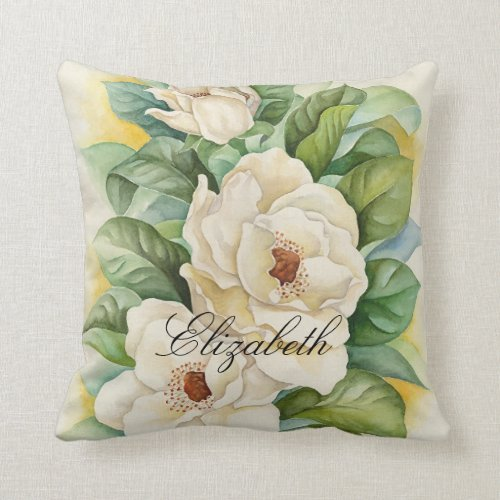 White Magnolia Watercolor Floral Personalized Name Throw Pillow