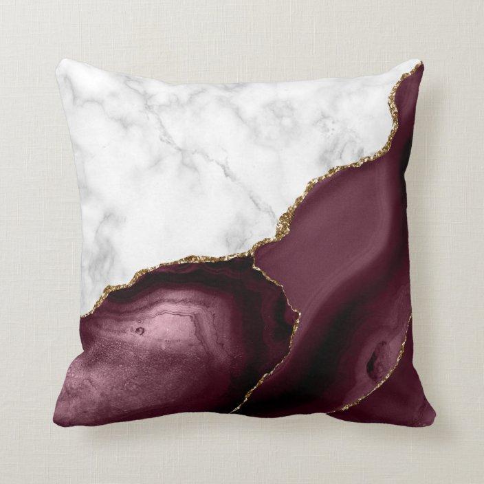 white marble gilded burgundy agate throw pillow zazzle com