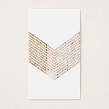 White Minimalist chevron with Wood Business Card