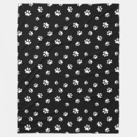 White Paw Prints Pattern Fleece Blanket