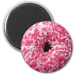 White Pink Sprinkles Donut Magnet