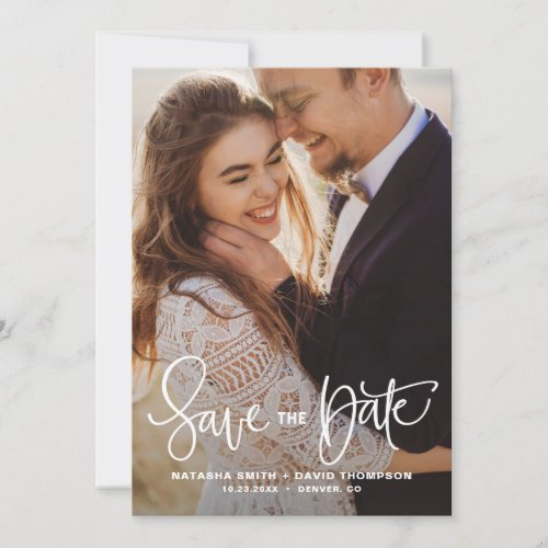 White Pretty Hand Lettering Photo Save the Date II