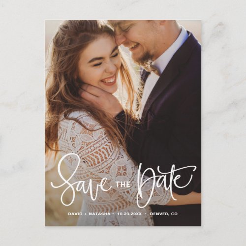 White Pretty Hand Lettering Photo Save the Date II Announcement Postcard