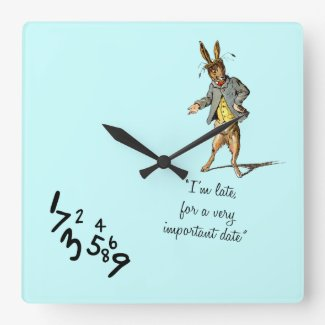 "White Rabbit ""I'm late"" wallclocks"