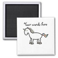 White rainbow unicorn magnet