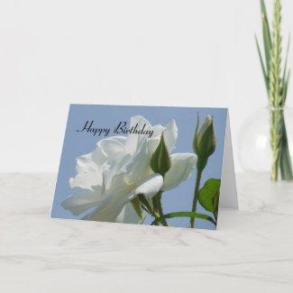 White Rose - Happy Birthday Greeting Card