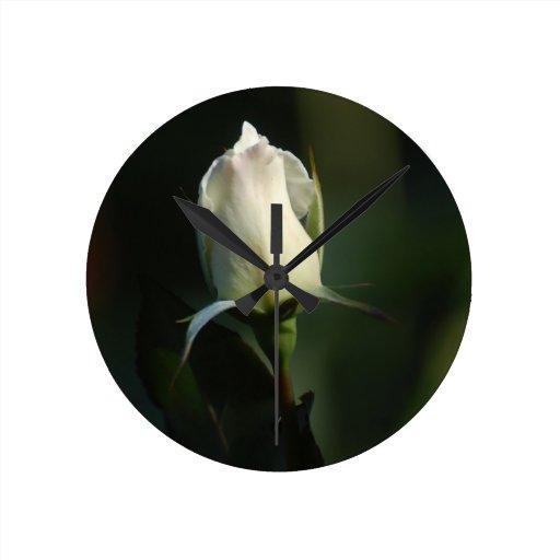 White Rosebud Round Clock