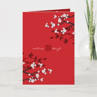 White Sakuras Chinese Wedding / Invitation Card card