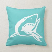 white shark on teal blue pillow | Zazzle