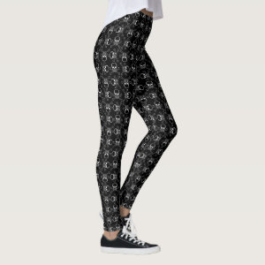 White Skulls and Crossbones graphic Pattern Leggings