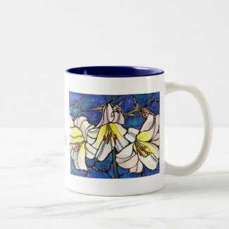 White Tiger Lily Flowers Stained Glass Design Art Two-Tone Coffee Mug