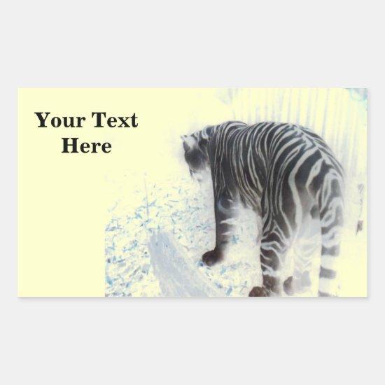 White Tiger wild animal Rectangular Sticker
