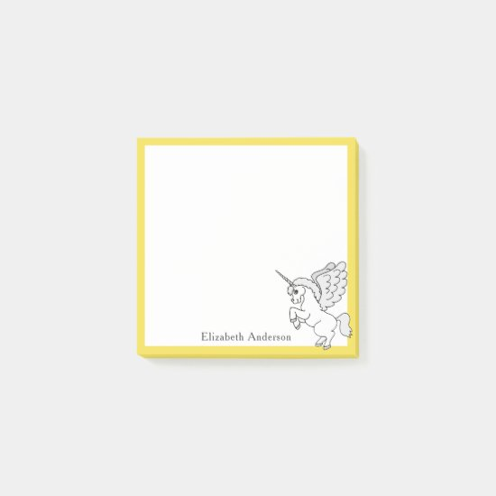 White Unicorn Personalize Yellow Small Post-it Notes