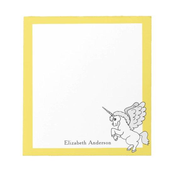White Unicorn Personalized Yellow Notepad