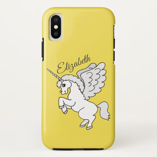 White Unicorn Yellow Personalized iPhone XS Case