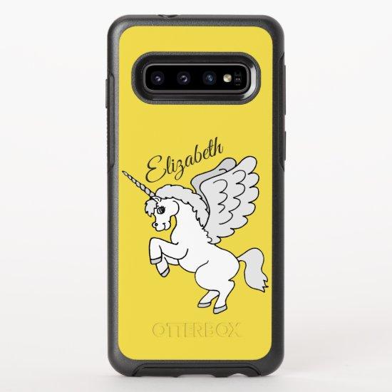 White Unicorn Yellow Personalized OtterBox Symmetry Samsung Galaxy S10 Case