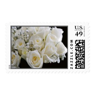 White Wedding Bouquet Designs Postage