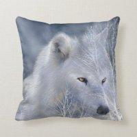 White Wolf Art Designer Pillow | Zazzle.com