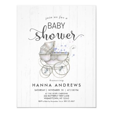 White Wood & Carriage Boy Baby Shower Invitation