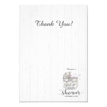 White Wood & Carriage Girl Baby Shower Thank You Card