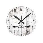 White Wood Farmhouse Shabby Chic Lashes Round Clock
