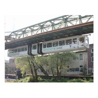 White Wuppertal Floating Train Schwebebahn Vorwerk Postcard