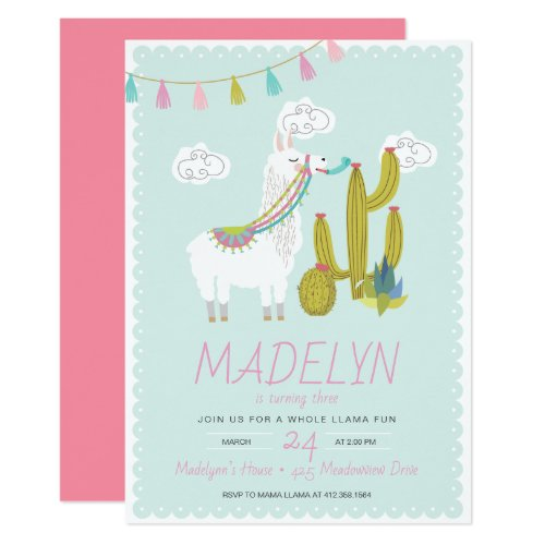 Whole Llama Fun Alpace Birthday Invitation