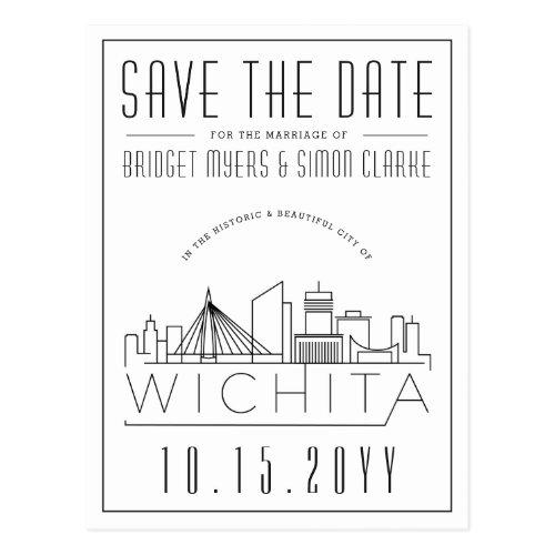 Wichita Wedding   Stylized Skyline Save the Date Postcard