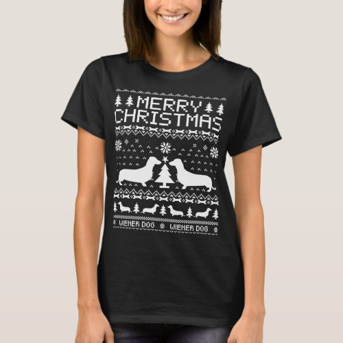 Wiener Dog Ugly Christmas Sweater T-Shirt