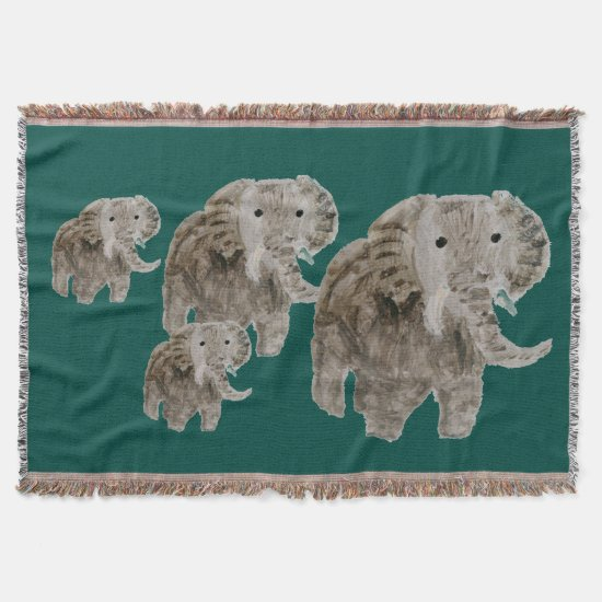 Wild Animal Elephant Art Throw Blanket