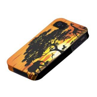 Wild Animals on Savannah Sunset iPhone 4 Case