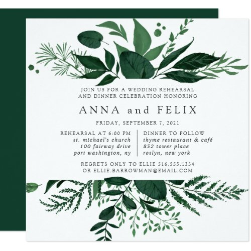 Wild Forest Rehearsal Dinner Invitation | Square