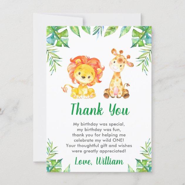 wild jungle safari boy 1st first birthday party thank you card zazzle com