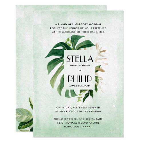 Wild  monstera tropical gold leaves formal wedding invitation