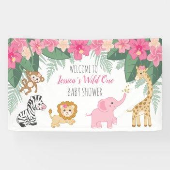 Wild one Safari / Girl Jungle BABY shower welcome Banner