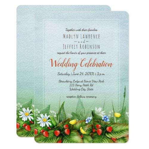 Wild strawberry meadow blue sky nature wedding card