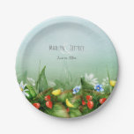 Wild strawberry meadow blue sky summer paper plate